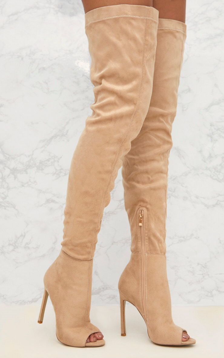 Knee high boots nude